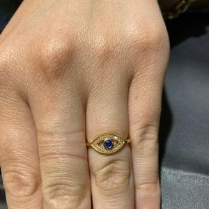 14k Yellow Gold Eye Ring with Diamonds